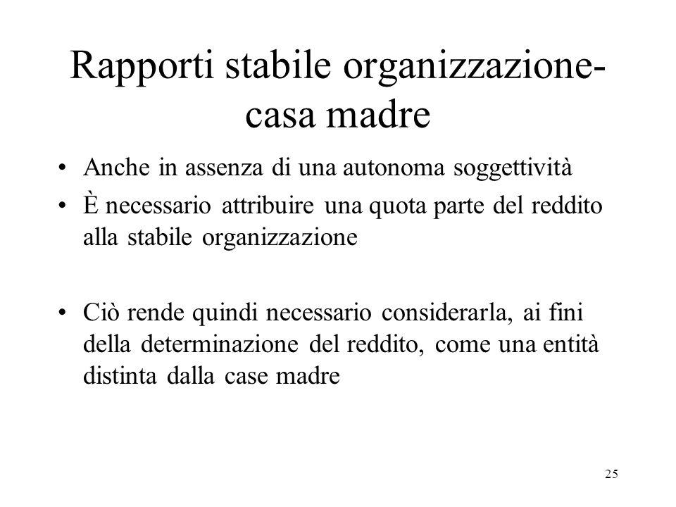 Rapporti stabile organizzazione-casa madre