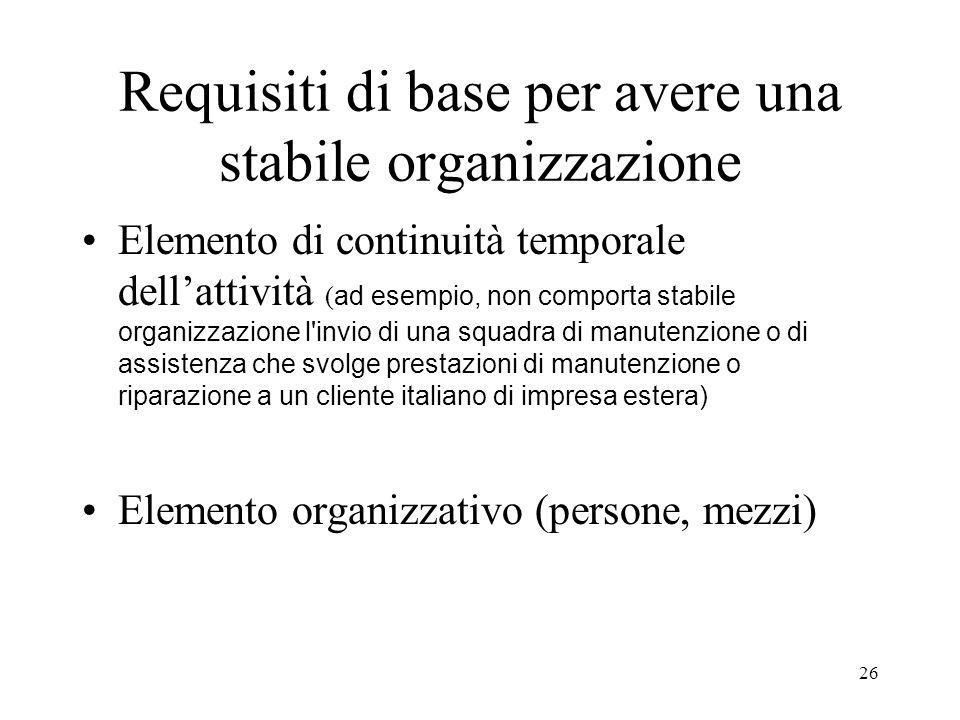 Requisiti di base per avere una stabile organizzazione