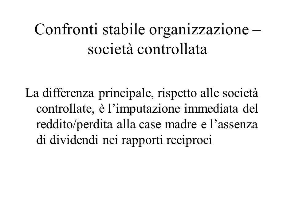 Confronti stabile organizzazione – società controllata