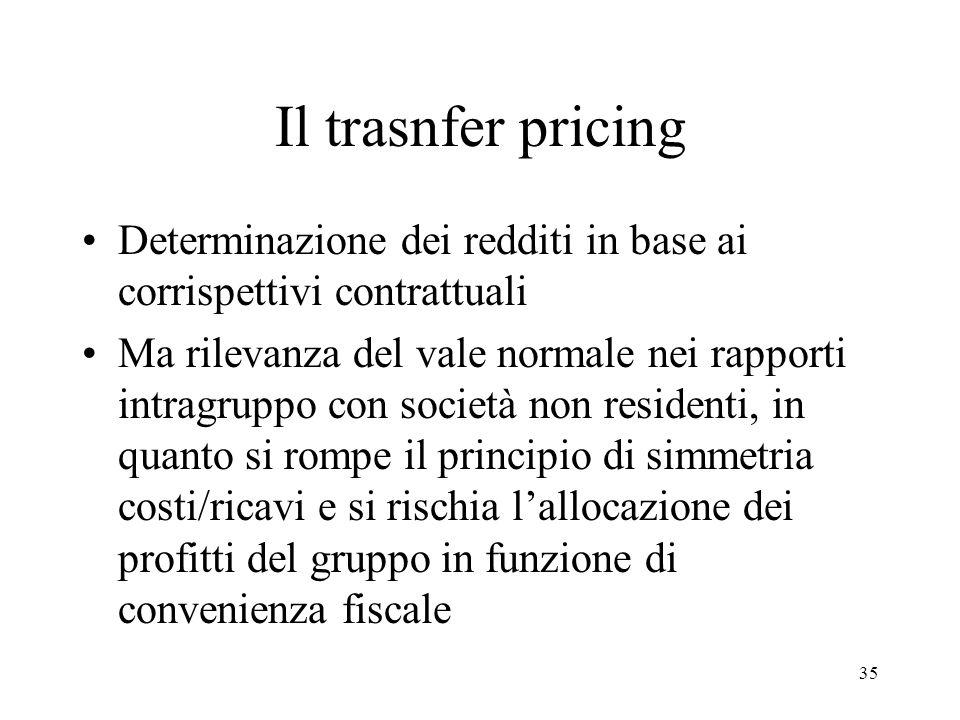 Il trasnfer pricing Determinazione dei redditi in base ai corrispettivi contrattuali.