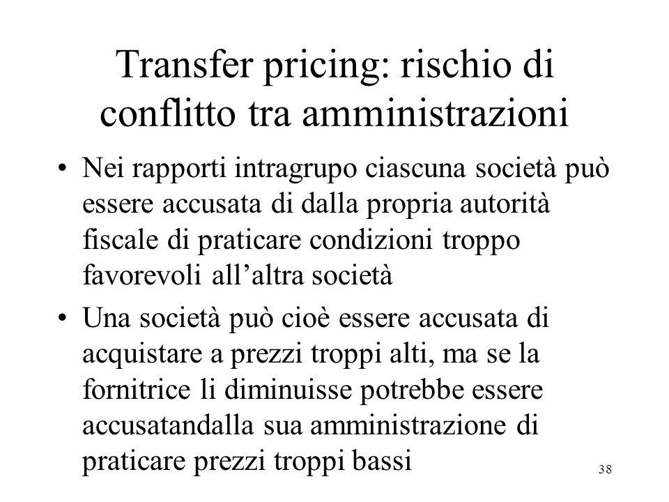 Transfer pricing: rischio di conflitto tra amministrazioni