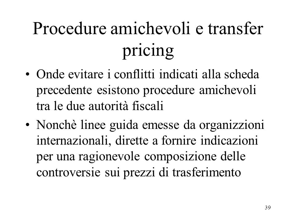 Procedure amichevoli e transfer pricing