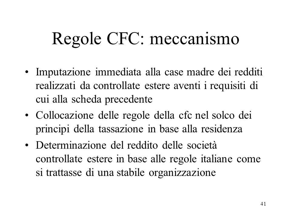 Regole CFC: meccanismo