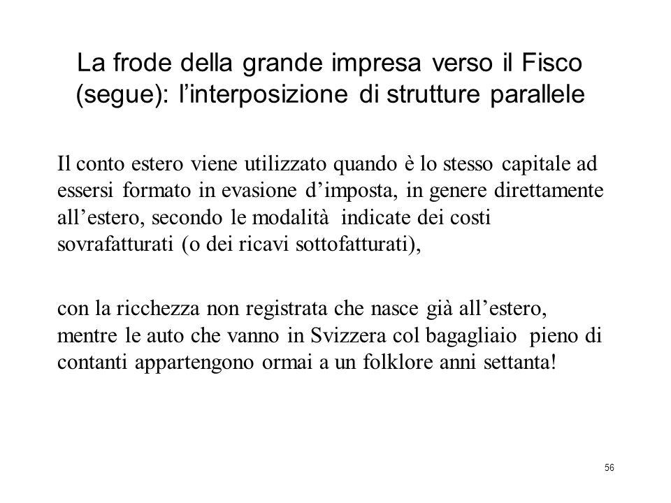 La frode della grande impresa verso il Fisco (segue): l'interposizione di strutture parallele