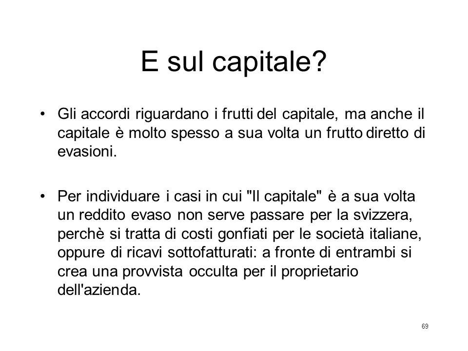 E sul capitale Gli accordi riguardano i frutti del capitale, ma anche il capitale è molto spesso a sua volta un frutto diretto di evasioni.