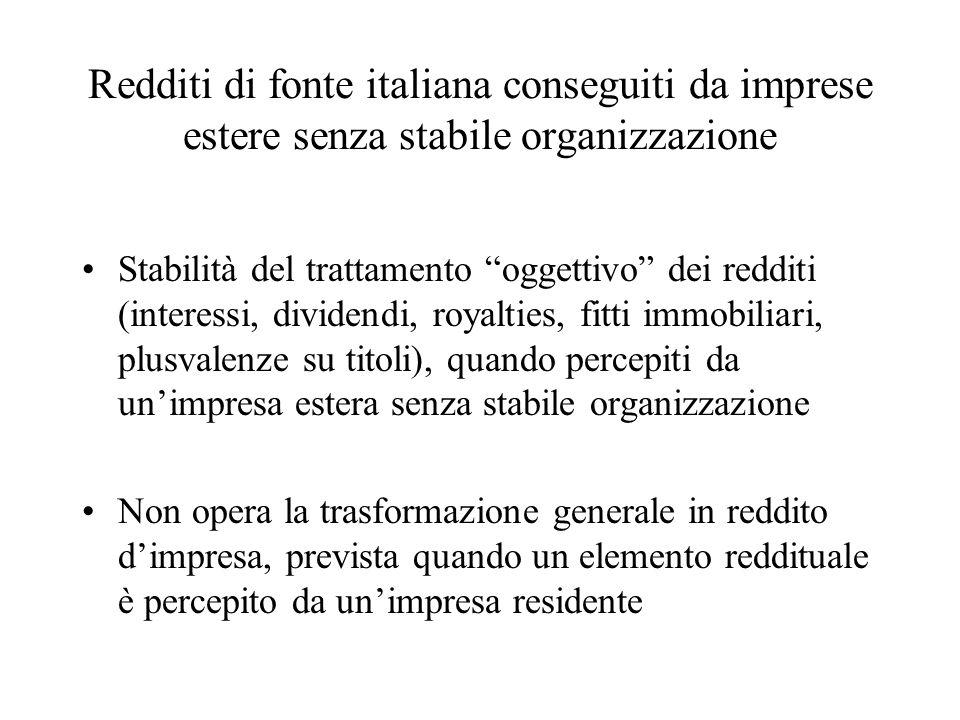 Redditi di fonte italiana conseguiti da imprese estere senza stabile organizzazione
