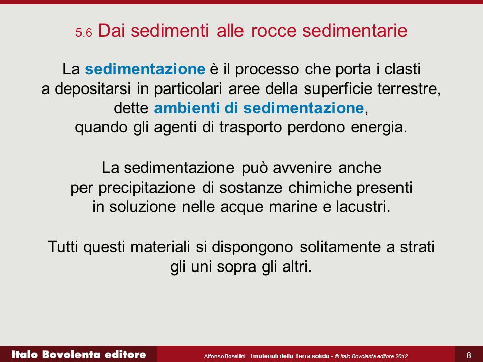 5.6 Dai sedimenti alle rocce sedimentarie