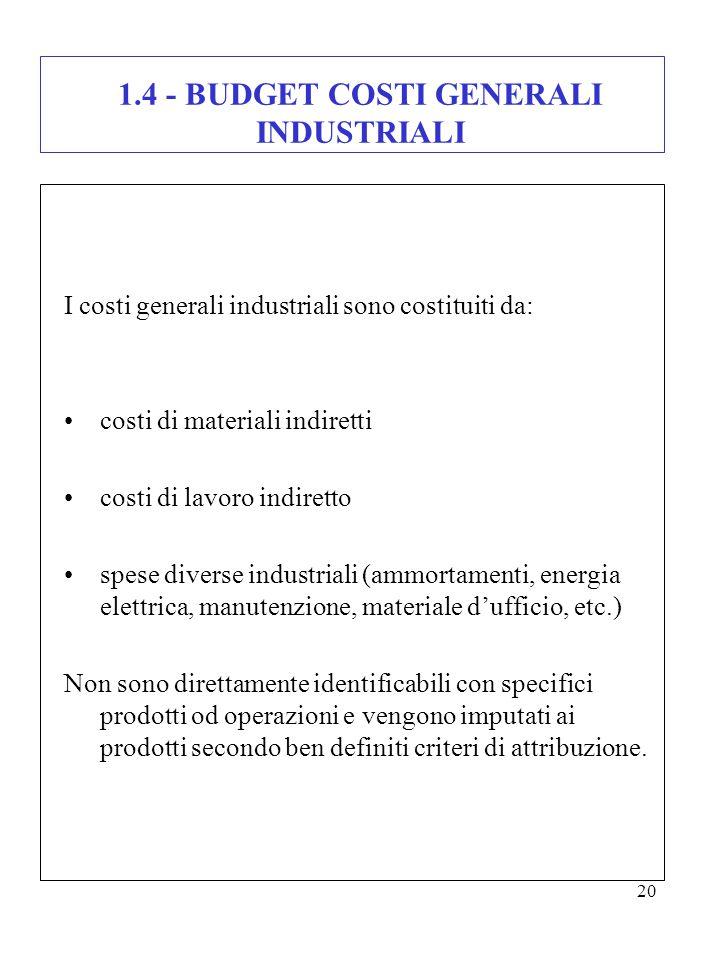 1.4 - BUDGET COSTI GENERALI INDUSTRIALI