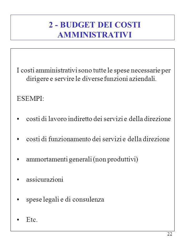 2 - BUDGET DEI COSTI AMMINISTRATIVI