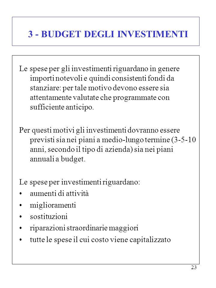 3 - BUDGET DEGLI INVESTIMENTI