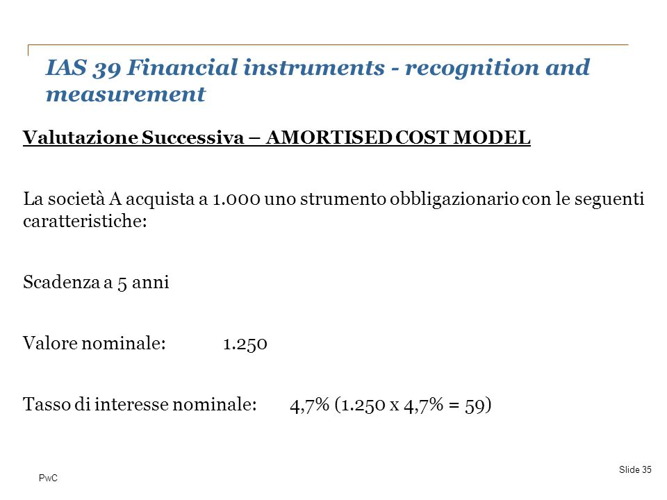IAS 39 Financial instruments - recognition and measurement