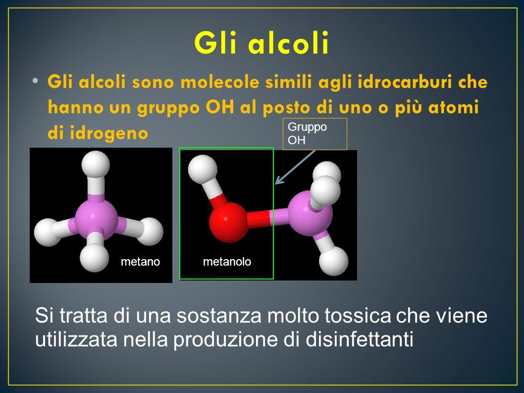 Gli alcoli Gli alcoli sono molecole simili agli idrocarburi che hanno un gruppo OH al posto di uno o più atomi di idrogeno.