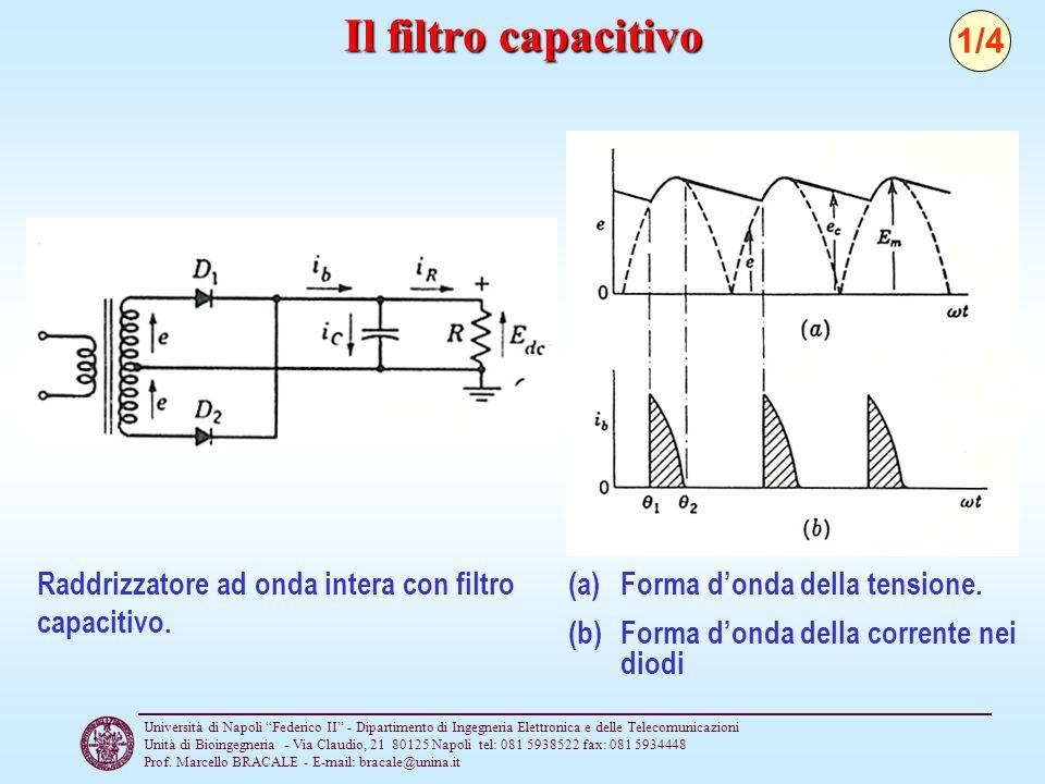 Il filtro capacitivo 1/4. Raddrizzatore ad onda intera con filtro capacitivo. Forma d'onda della tensione.