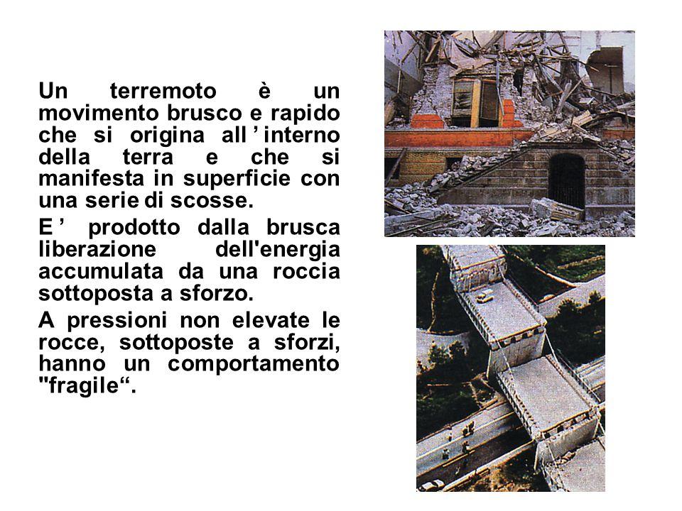 Un terremoto è un movimento brusco e rapido che si origina all'interno della terra e che si manifesta in superficie con una serie di scosse.