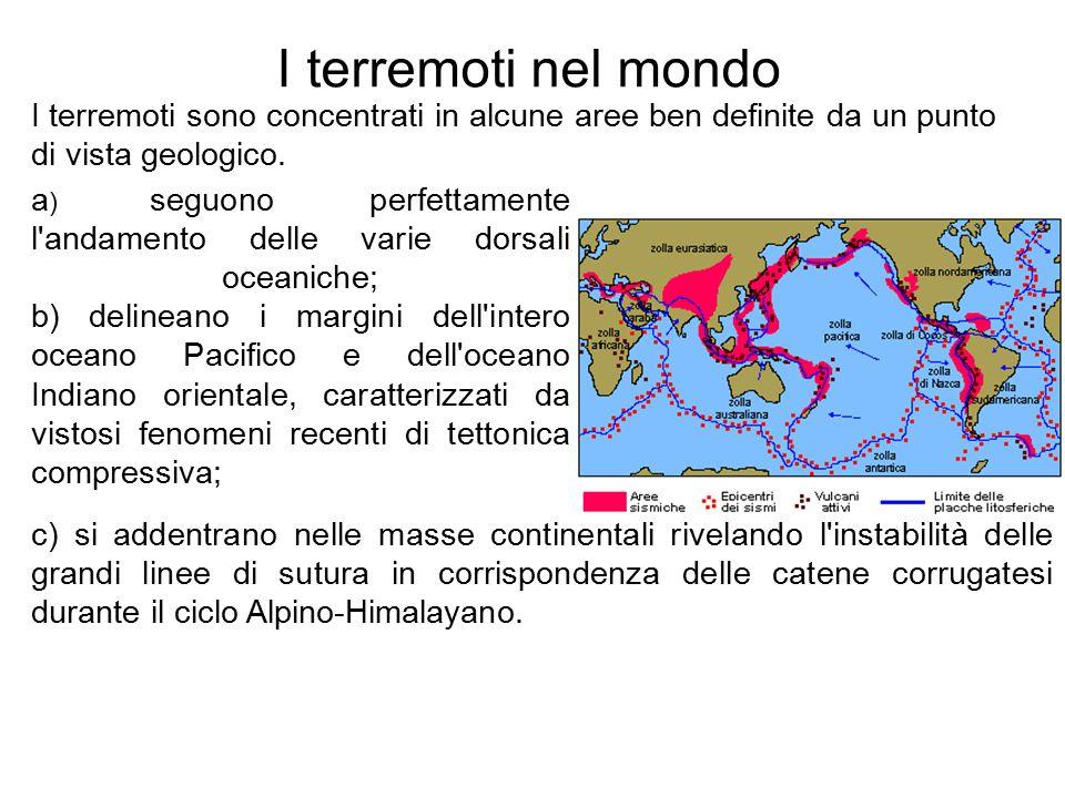 I terremoti nel mondo I terremoti sono concentrati in alcune aree ben definite da un punto di vista geologico.
