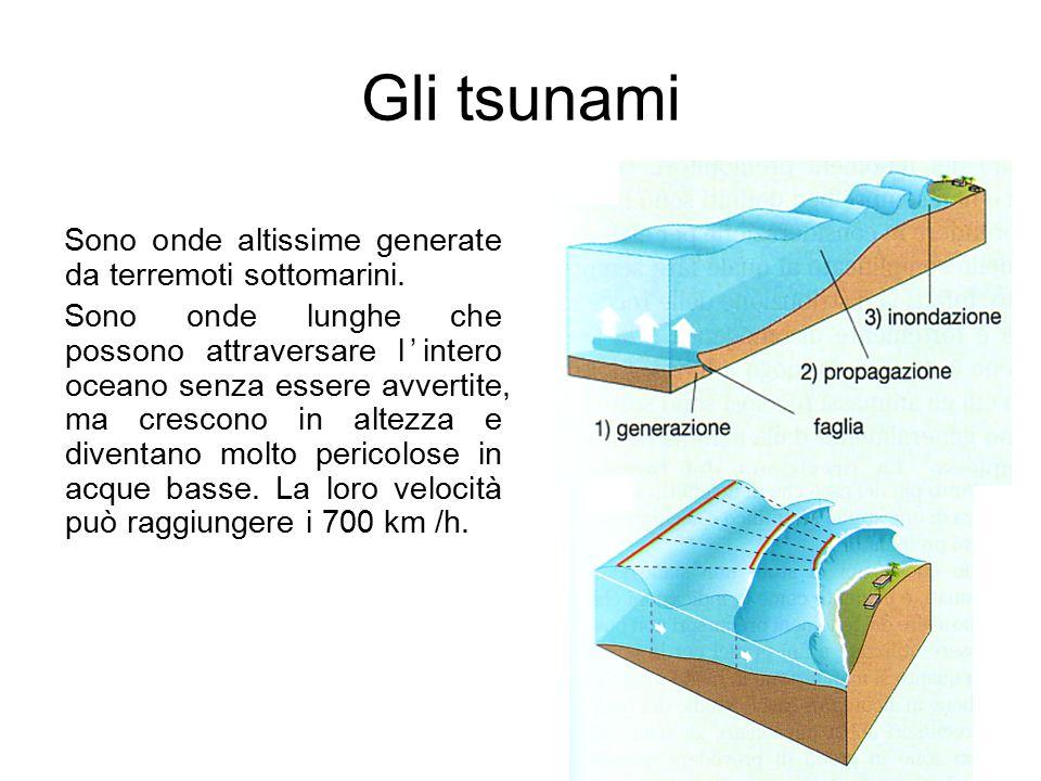 Gli tsunami Sono onde altissime generate da terremoti sottomarini.