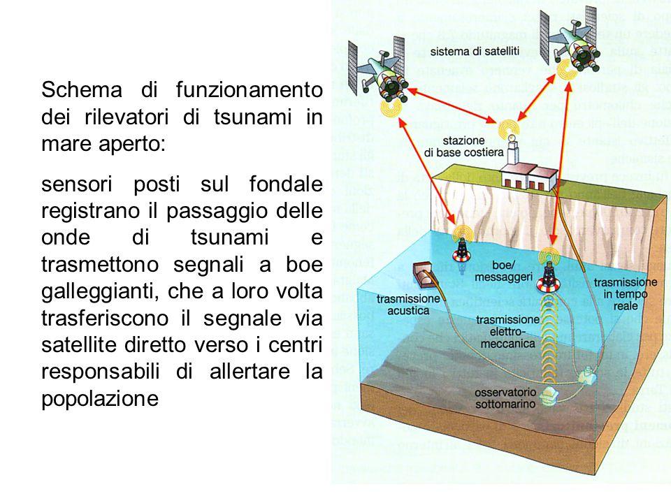 Schema di funzionamento dei rilevatori di tsunami in mare aperto: