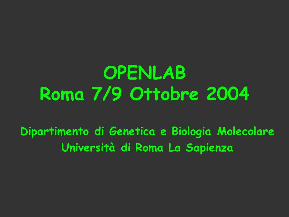 OPENLAB Roma 7/9 Ottobre 2004 Dipartimento di Genetica e Biologia Molecolare.