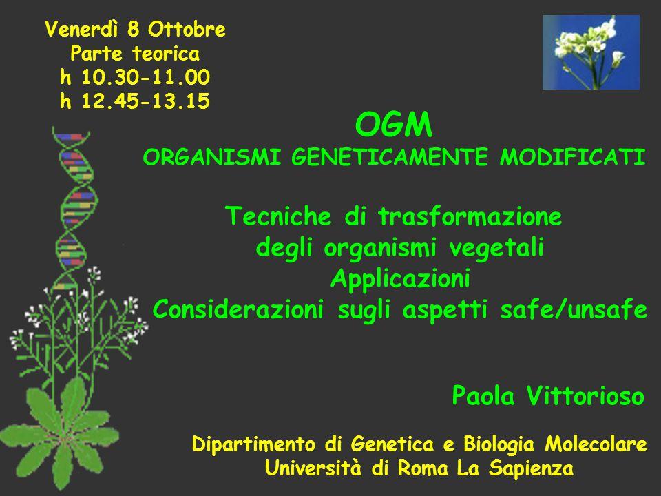 OGM Tecniche di trasformazione degli organismi vegetali Applicazioni