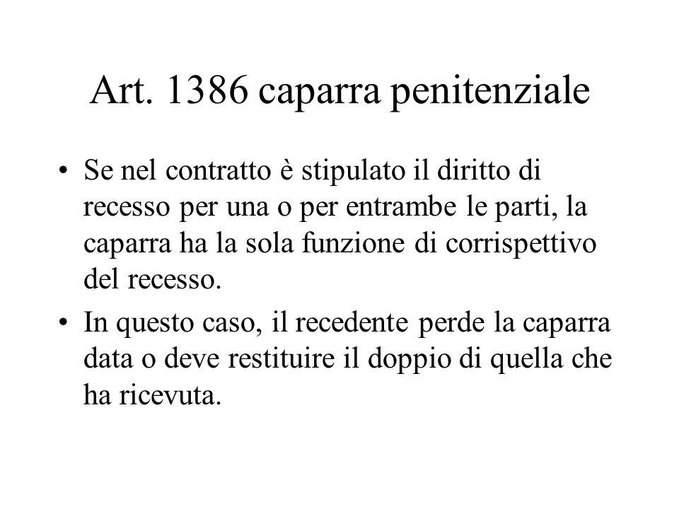 Art. 1386 caparra penitenziale