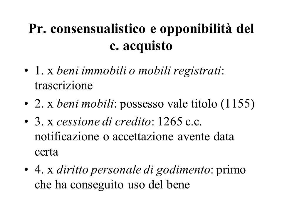 Pr. consensualistico e opponibilità del c. acquisto