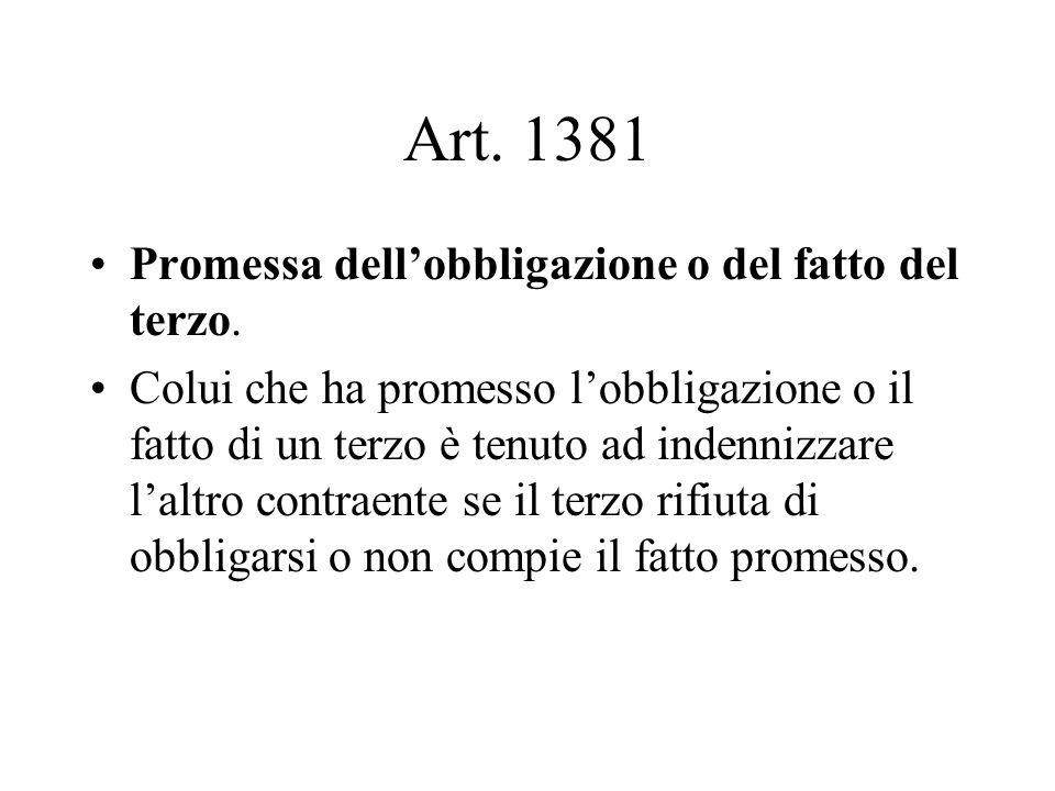 Art. 1381 Promessa dell'obbligazione o del fatto del terzo.