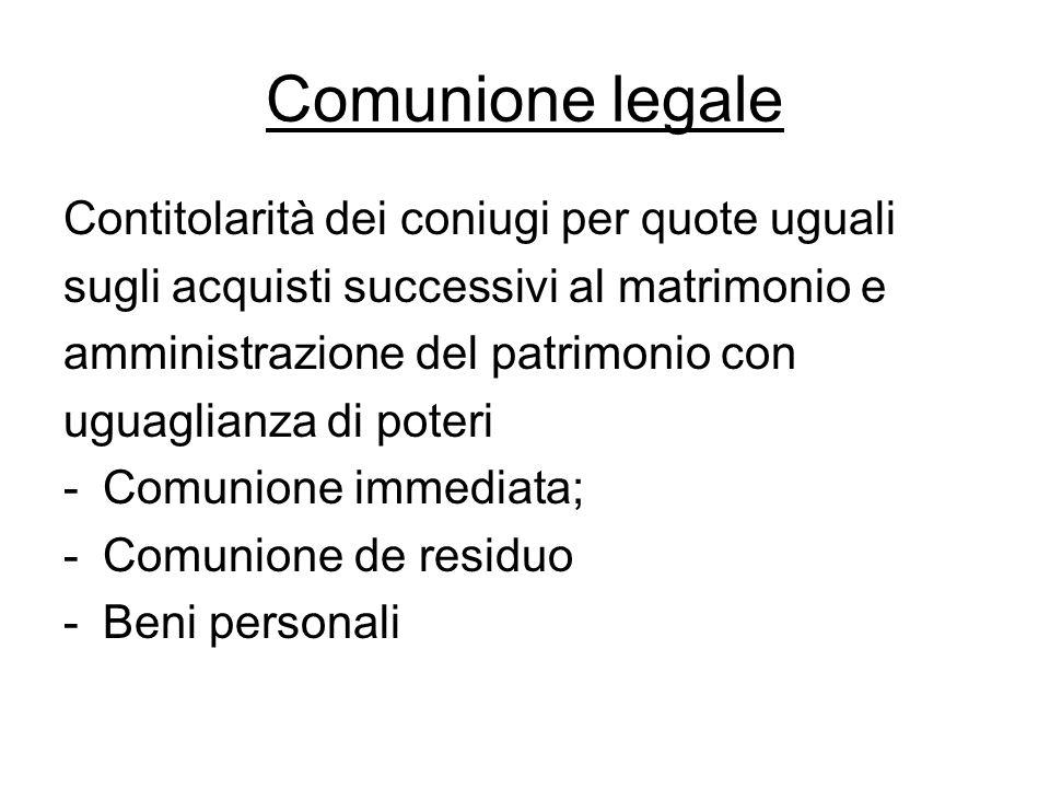 Comunione legale Contitolarità dei coniugi per quote uguali