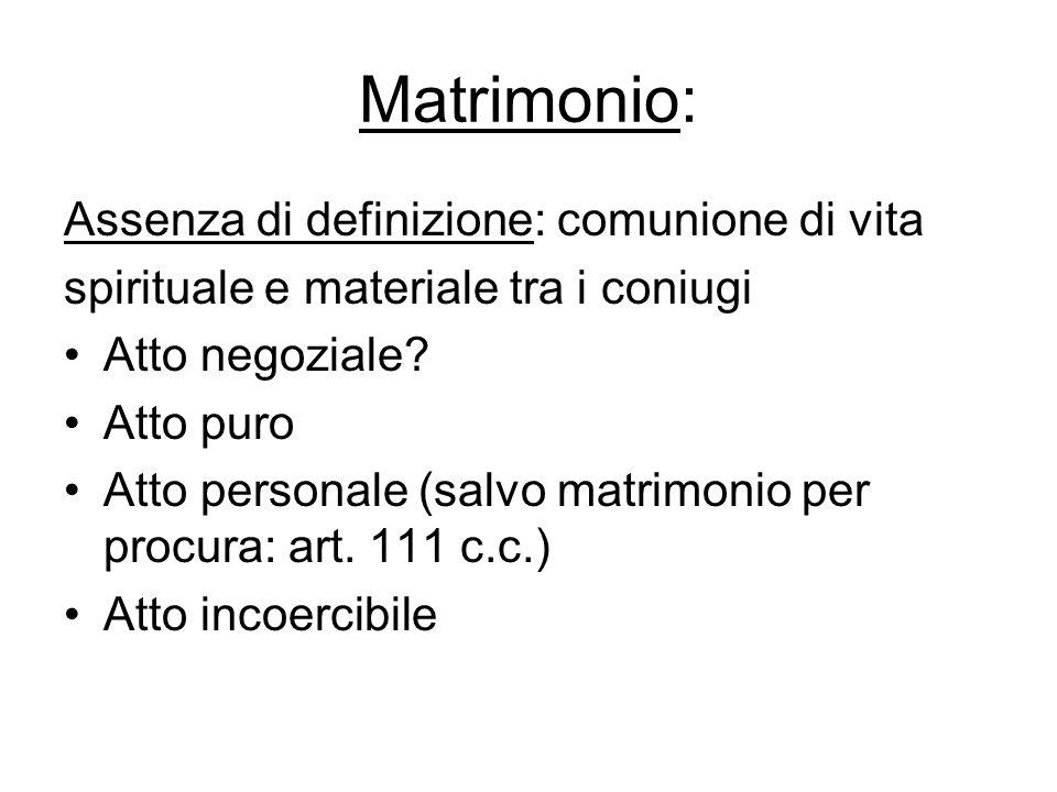Matrimonio: Assenza di definizione: comunione di vita