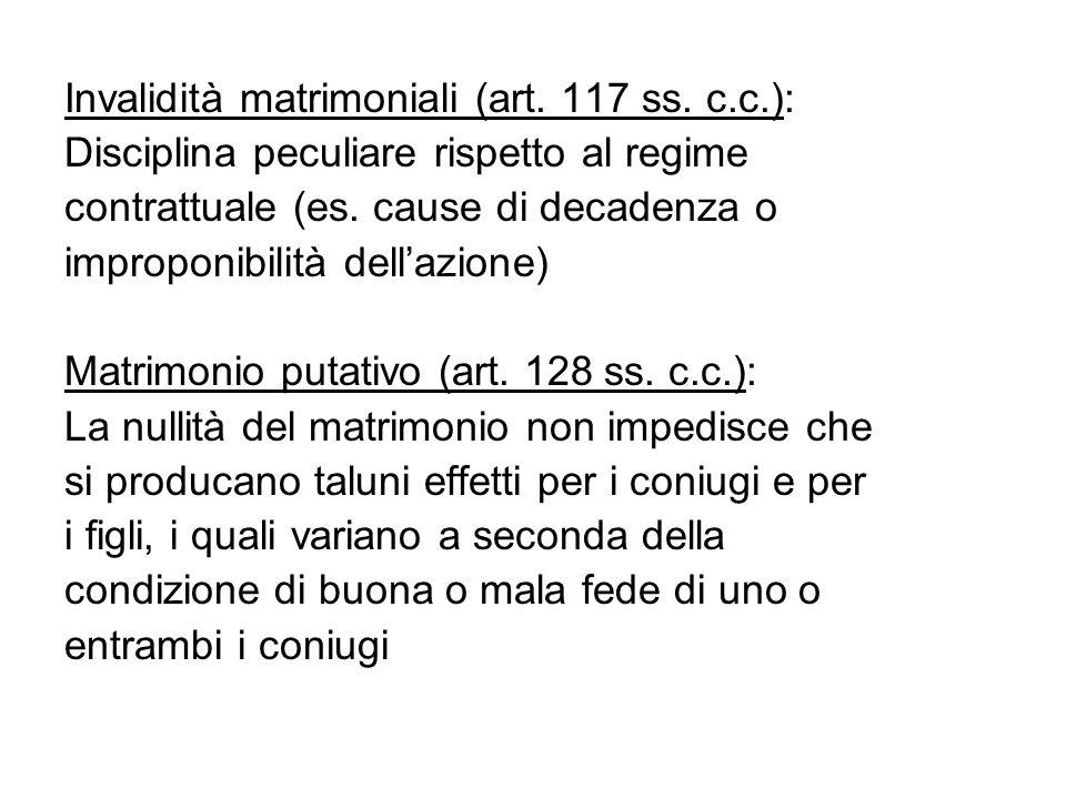 Invalidità matrimoniali (art. 117 ss. c.c.):