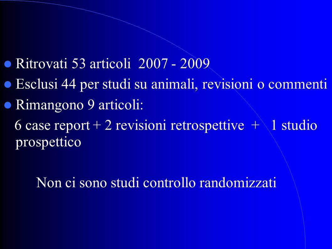 Ritrovati 53 articoli 2007 - 2009 Esclusi 44 per studi su animali, revisioni o commenti. Rimangono 9 articoli:
