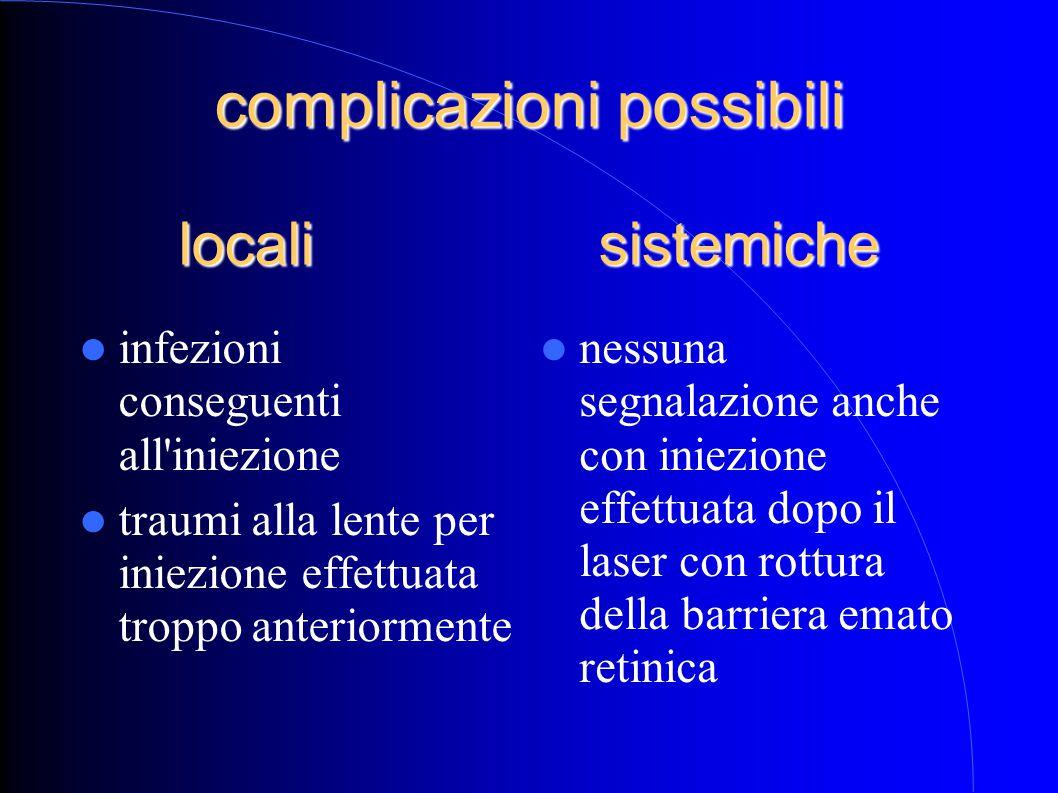 complicazioni possibili locali sistemiche