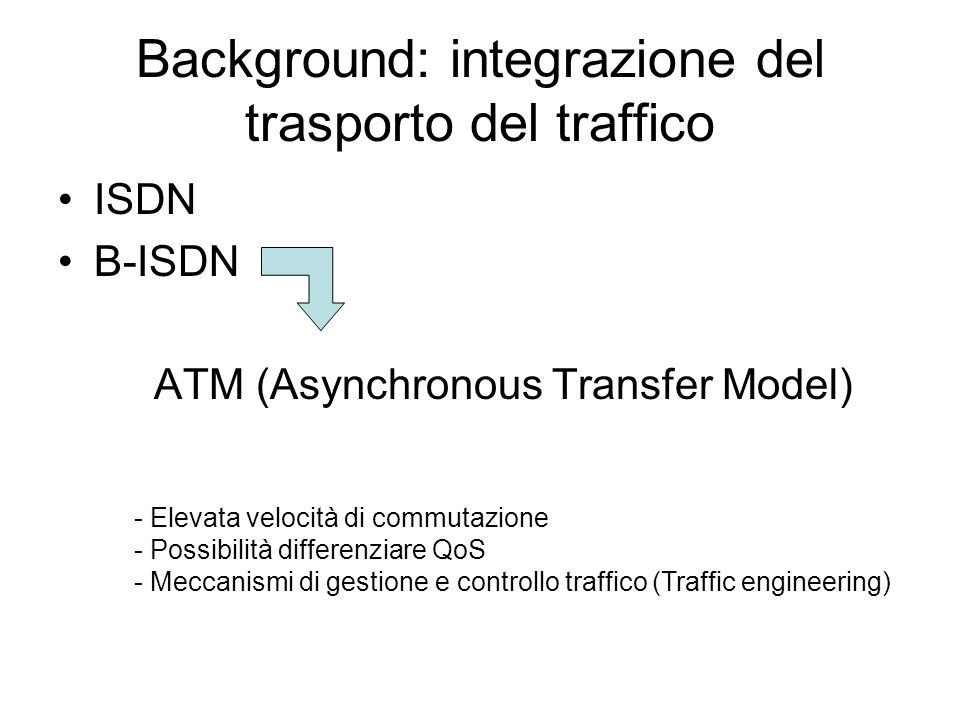 Background: integrazione del trasporto del traffico