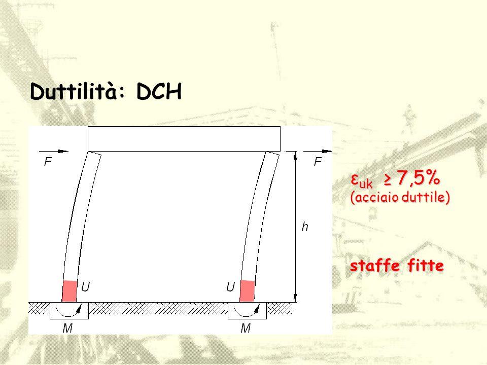 Duttilità: DCH εuk ≥ 7,5% (acciaio duttile) staffe fitte