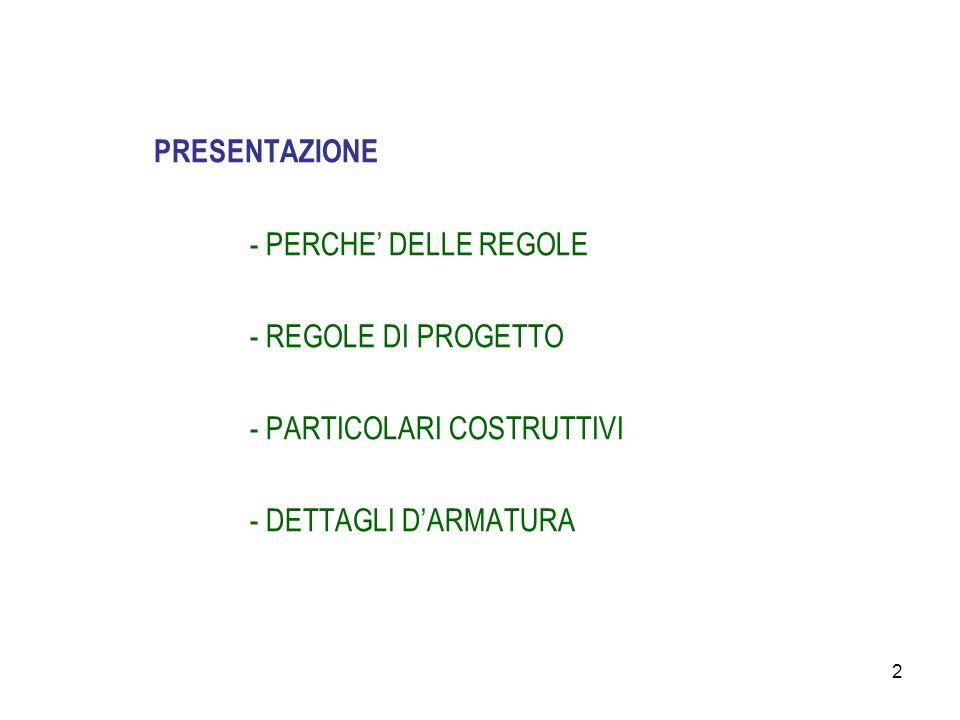 PRESENTAZIONE - PERCHE' DELLE REGOLE. - REGOLE DI PROGETTO.