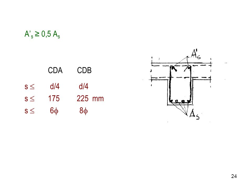 A's ≥ 0,5 As CDA CDB. s  d/4 d/4.