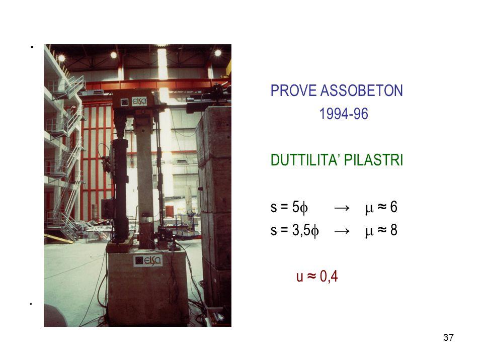 . PROVE ASSOBETON 1994-96 DUTTILITA' PILASTRI s = 5 →  ≈ 6