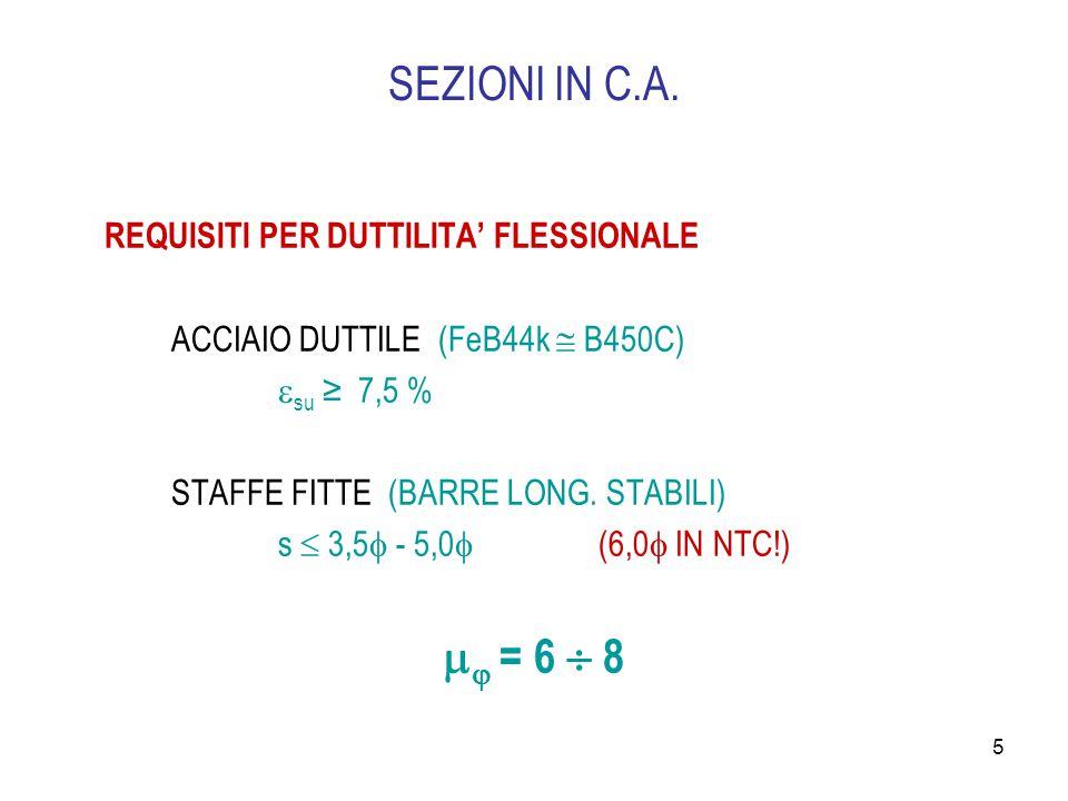 SEZIONI IN C.A.  = 6  8 REQUISITI PER DUTTILITA' FLESSIONALE