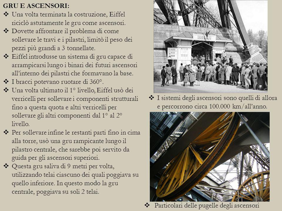 GRU E ASCENSORI: Una volta terminata la costruzione, Eiffel riciclò astutamente le gru come ascensori.