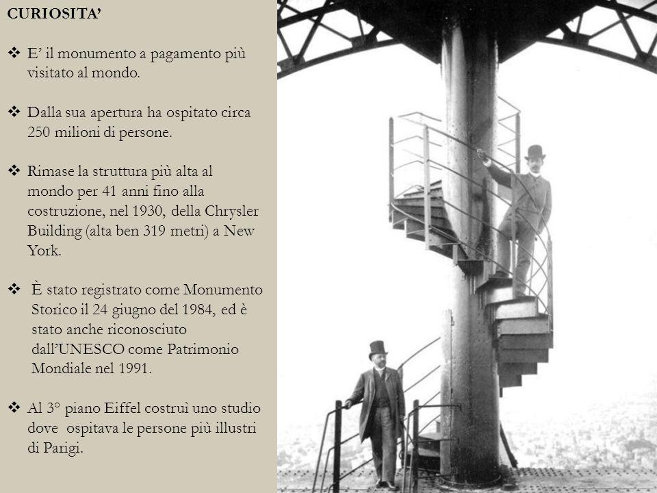 CURIOSITA' E' il monumento a pagamento più visitato al mondo. Dalla sua apertura ha ospitato circa 250 milioni di persone.