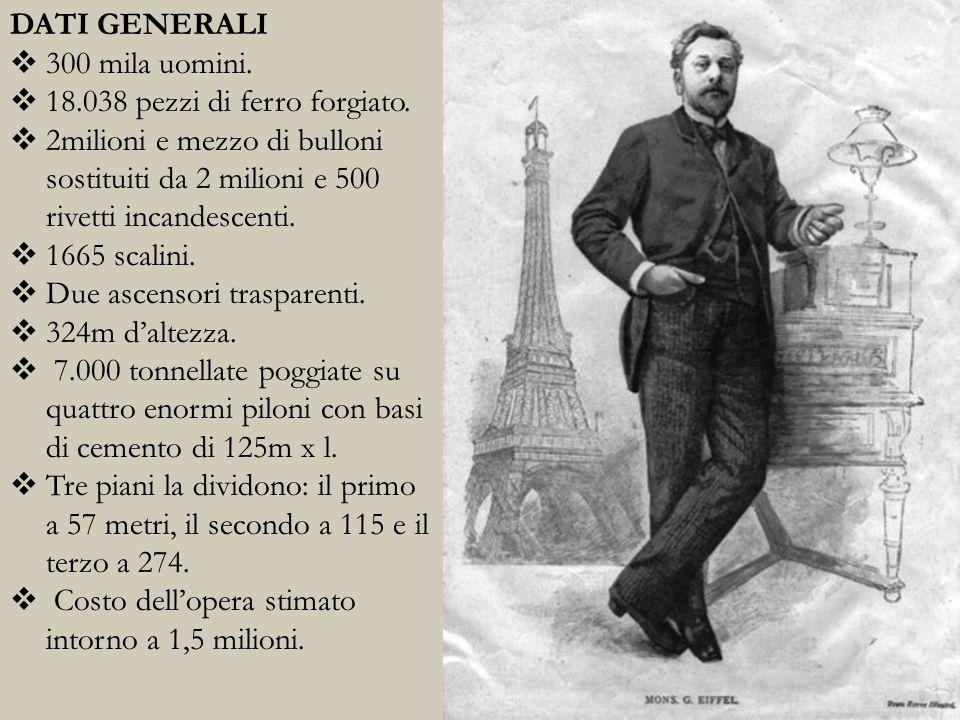 DATI GENERALI 300 mila uomini. 18.038 pezzi di ferro forgiato. 2milioni e mezzo di bulloni sostituiti da 2 milioni e 500 rivetti incandescenti.