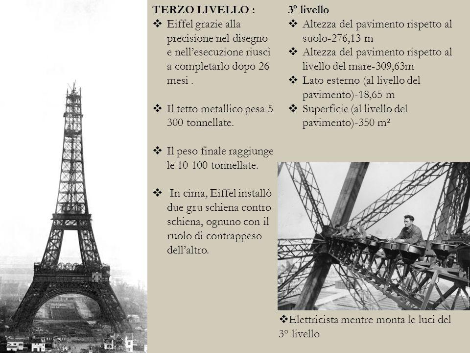 TERZO LIVELLO : Eiffel grazie alla precisione nel disegno e nell'esecuzione riuscì a completarlo dopo 26 mesi .