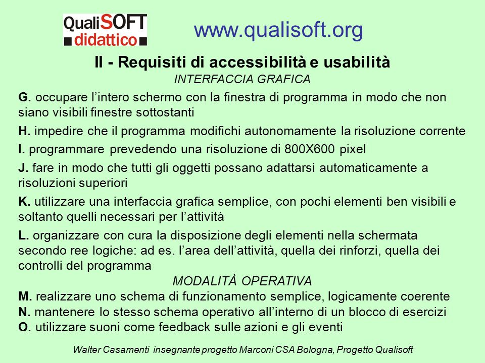 II - Requisiti di accessibilità e usabilità