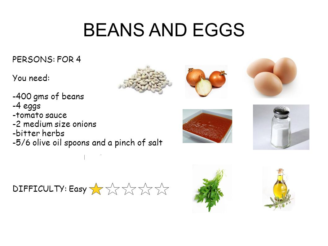 BEANS AND EGGS PERSONS: FOR 4 You need: -400 gms of beans -4 eggs