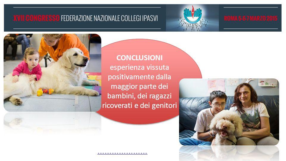 CONCLUSIONI esperienza vissuta positivamente dalla maggior parte dei bambini, dei ragazzi ricoverati e dei genitori.