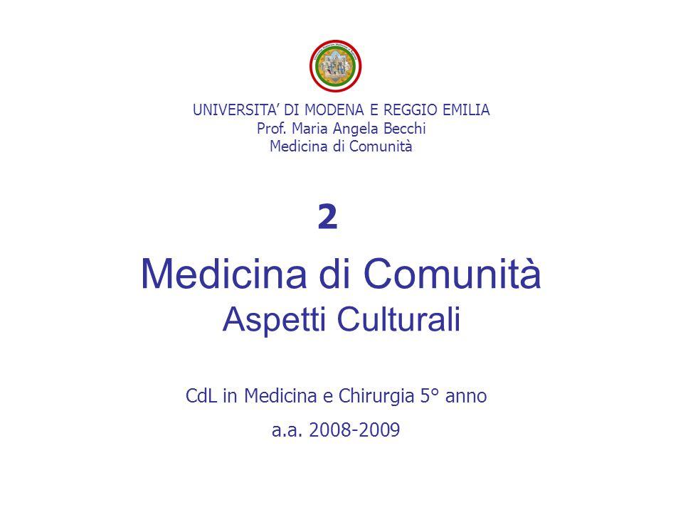 Medicina di Comunità Aspetti Culturali