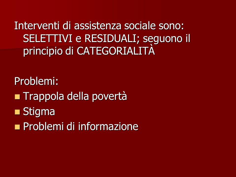Interventi di assistenza sociale sono: SELETTIVI e RESIDUALI; seguono il principio di CATEGORIALITÀ