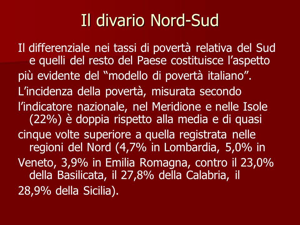 Il divario Nord-Sud Il differenziale nei tassi di povertà relativa del Sud e quelli del resto del Paese costituisce l'aspetto.