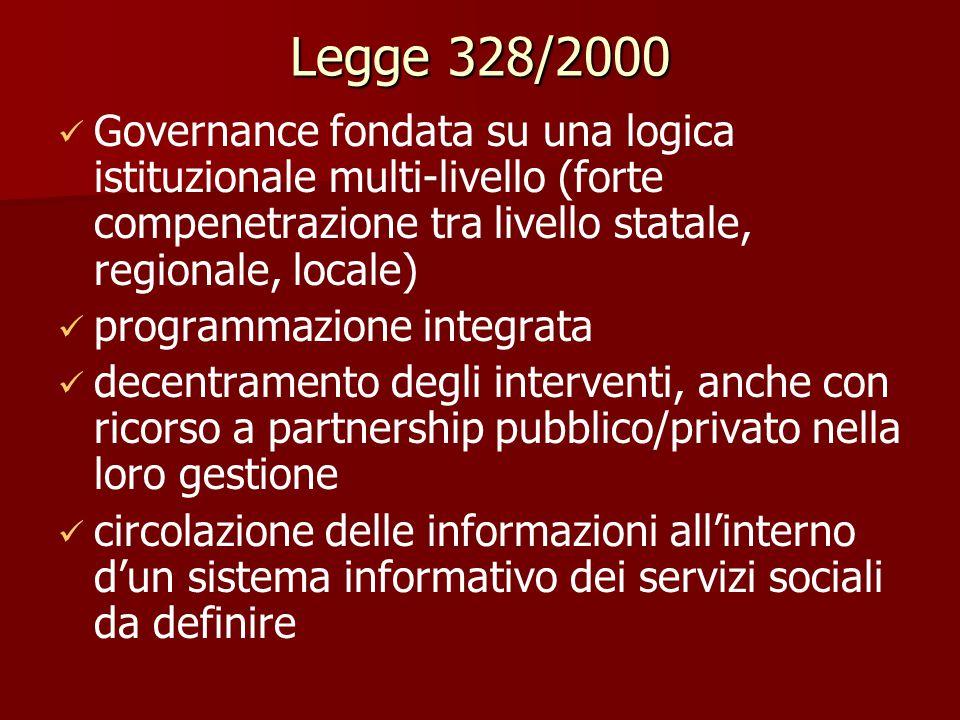 Legge 328/2000 Governance fondata su una logica istituzionale multi-livello (forte compenetrazione tra livello statale, regionale, locale)