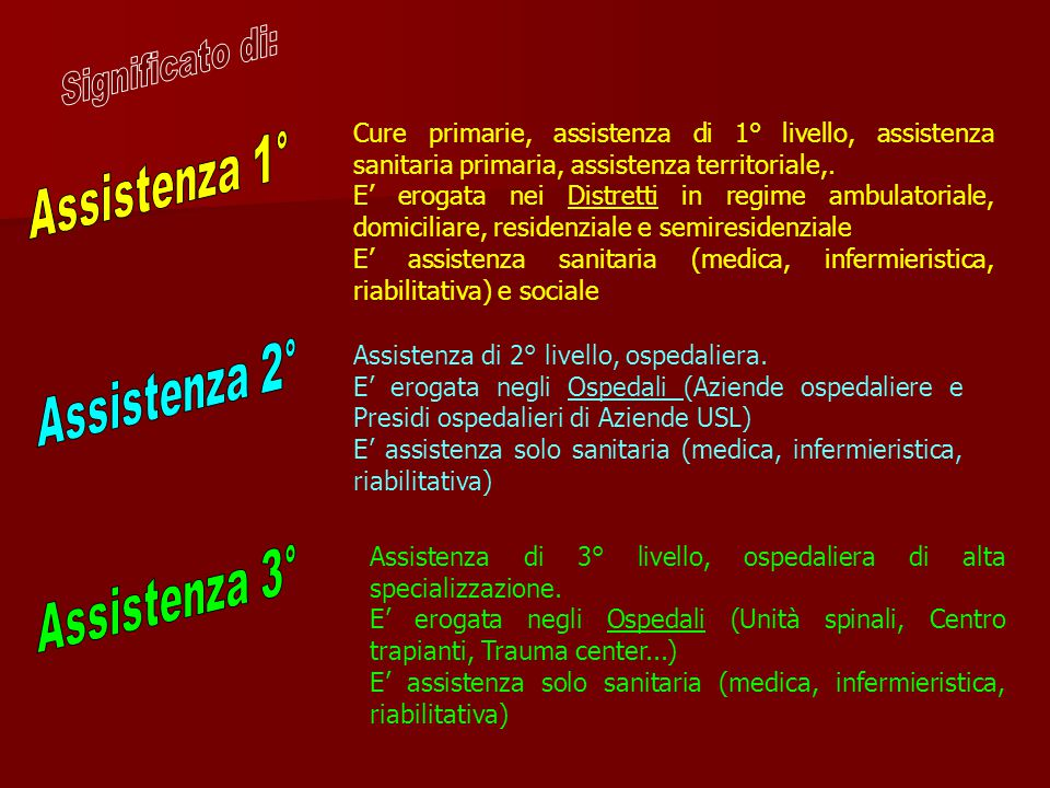 Assistenza 1° Assistenza 2° Assistenza 3° Significato di: