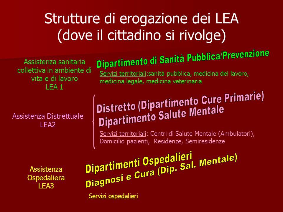 Strutture di erogazione dei LEA (dove il cittadino si rivolge)